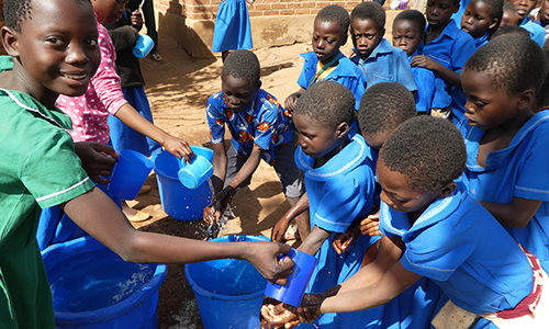 Children in Malawi at school