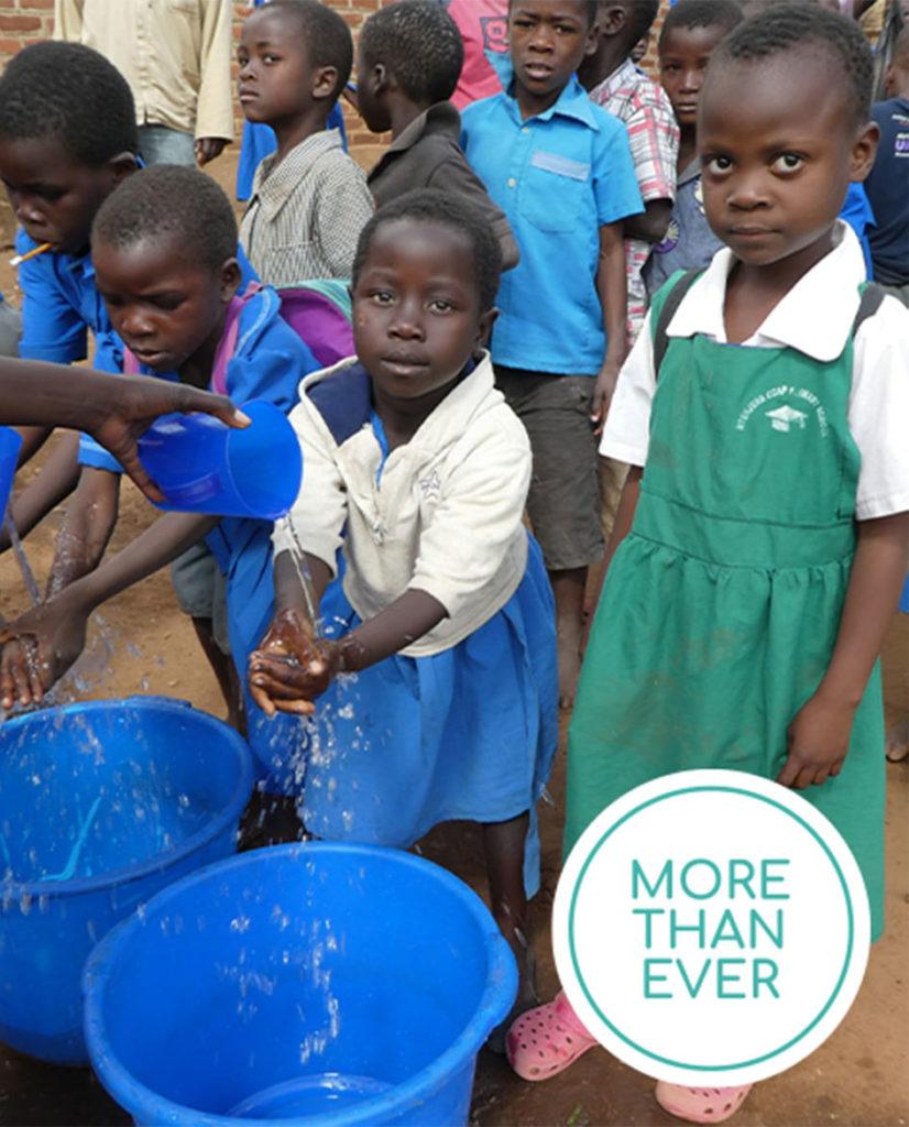 Children receiving fresh water