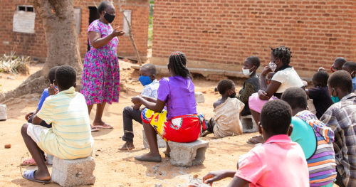 Ambuya Development Center in Malawi - School kids gathered outside
