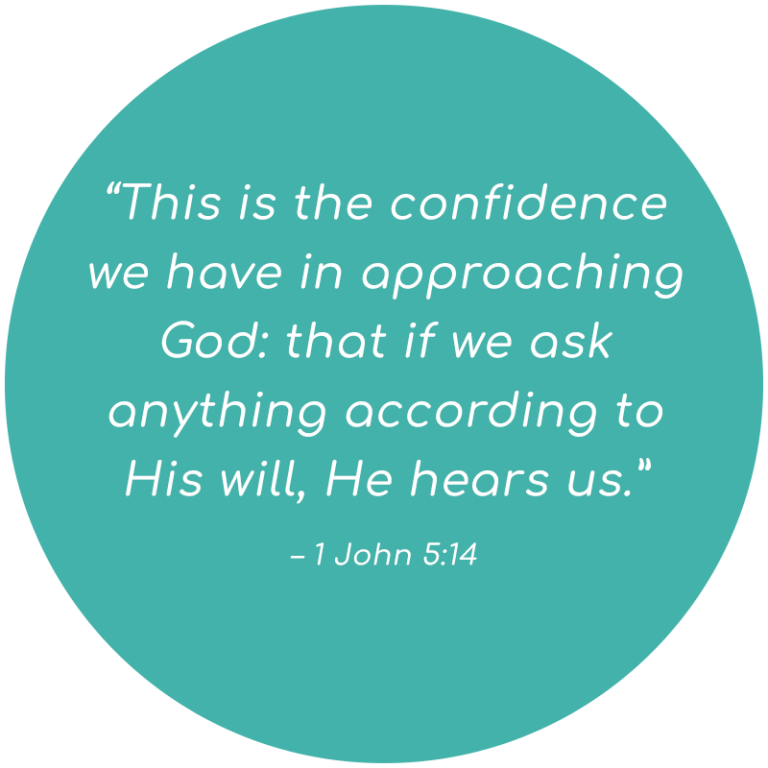 """""""This is the confidence we have in approaching God: that if we ask anything according to His will, He hears us."""" – 1 John 5:14"""