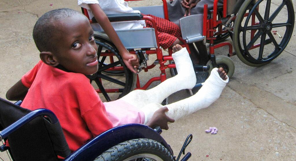 Zambian children in wheelchair