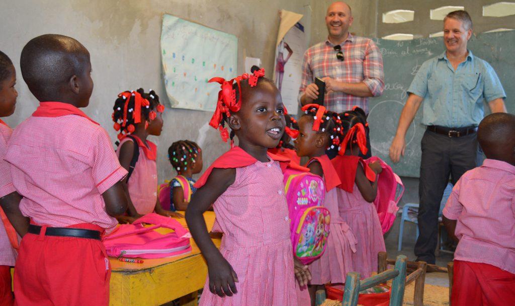 Kelly Miller and Zach Oles Director of International Programs visiting school in Haiti